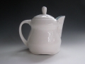 White coffee/tea pot with blue interior, 2011