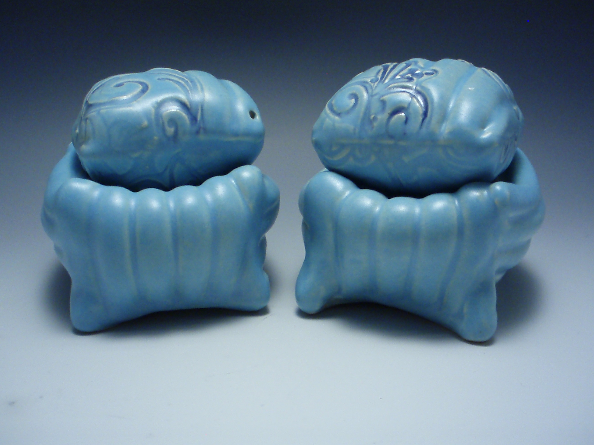 blue salt and pepper cubes on cushions, 2007